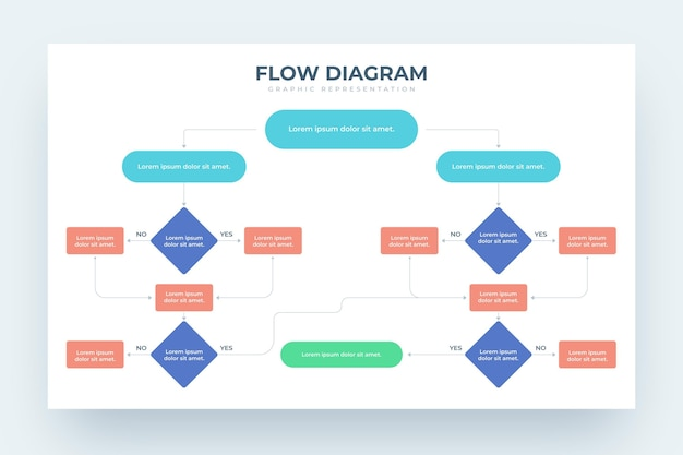 Diagrama de flujo de diseño infográfico vector gratuito