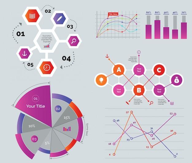 Diagramas creativos definidos vector gratuito