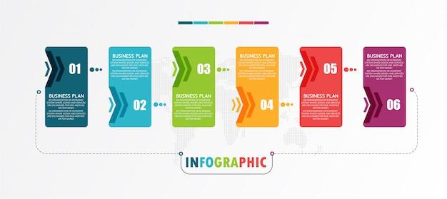 Los diagramas empresariales y educativos siguen los pasos que se utilizan para presentar la presentación junto con el estudio. Vector Premium