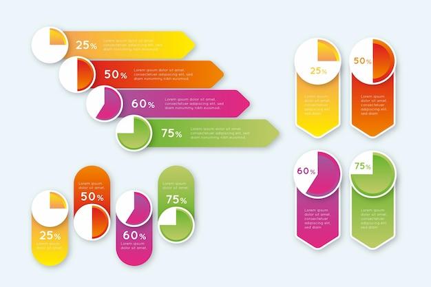 Diagramas de gradiente harvey ball - infografía vector gratuito