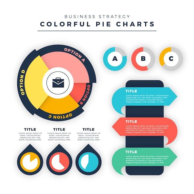 Diagramas de harvey ball planos - infografía Vector Premium