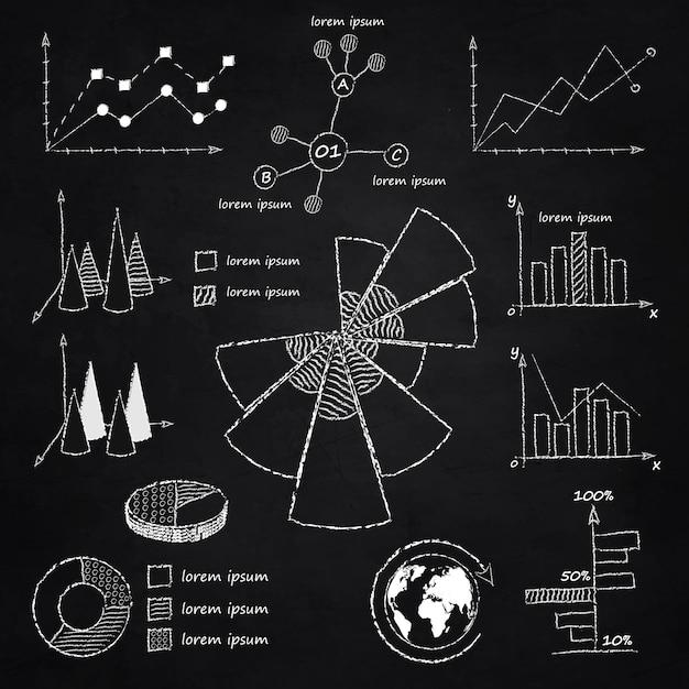 Diagramas infograficos de tiza vector gratuito
