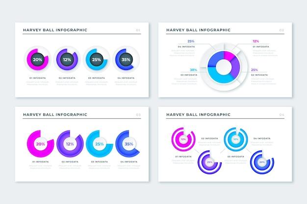 Diagramas realistas de harvey ball - infografía vector gratuito