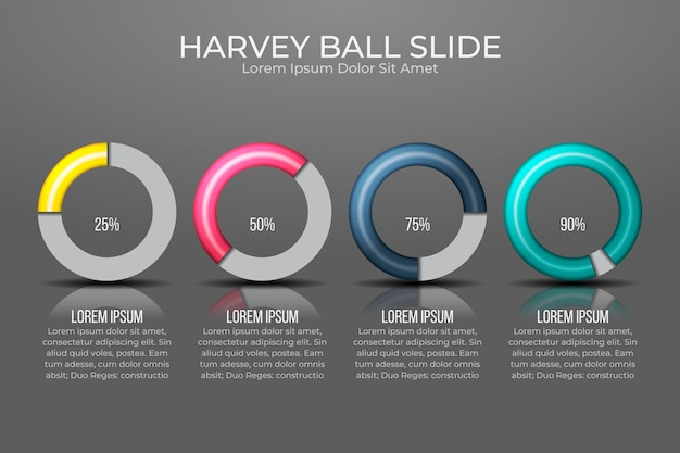 Diagramas realistas de harvey ball - infografía Vector Premium