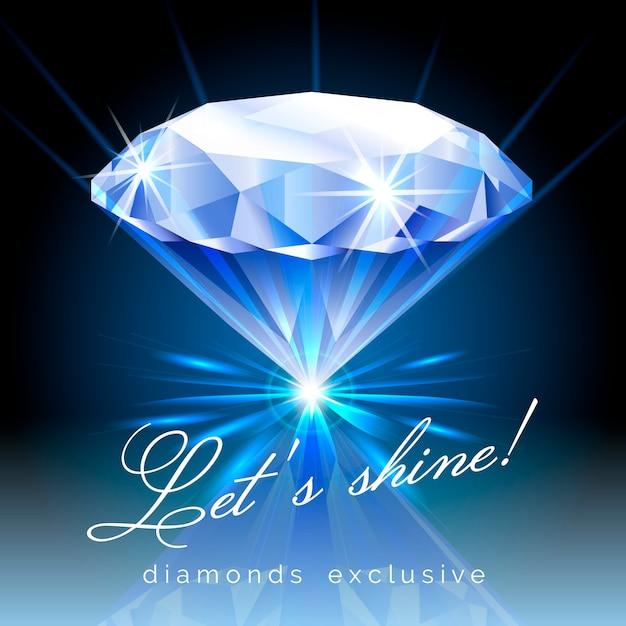 Diamante brillante con ilustración de texto vector gratuito