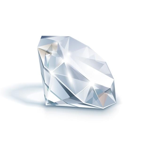 Diamante claro brillante blanco de cerca aislado en blanco Vector Premium