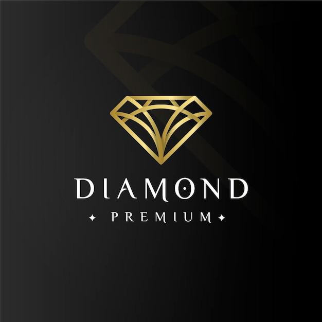 Diamante premium elegante logo dorado vector gratuito