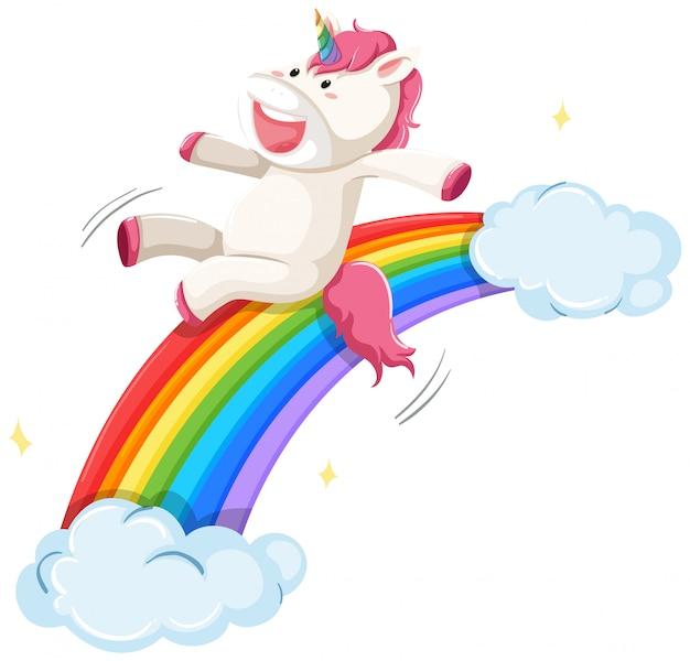 Una diapositiva de unicornio en el arco iris vector gratuito