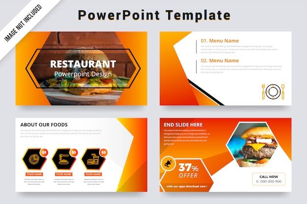 Diapositivas de presentación de orange color restaurant powerpoint con foto Vector Premium