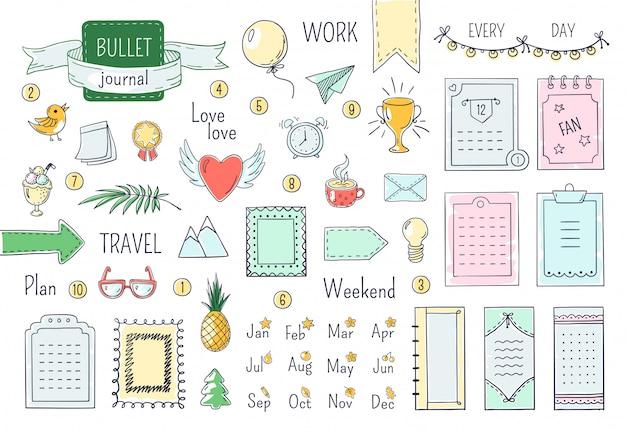 Diario elementos dibujados a mano. doodle viñetas, color cuaderno horario calendario diario línea garabato elementos. conjunto de marcos de doodle Vector Premium