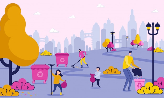 Días de familia libres es la limpieza de basura en el parque. Vector Premium