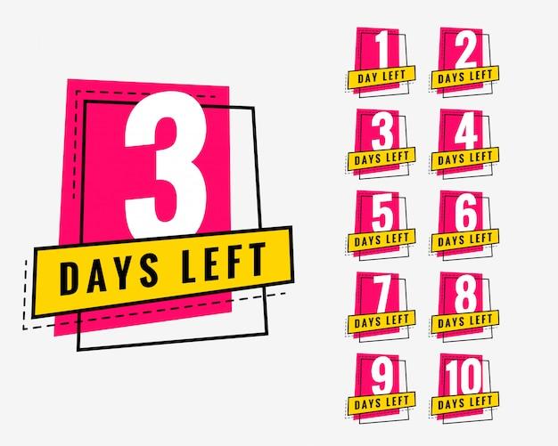 Días que quedan banner de moda para marketing y promoción. vector gratuito