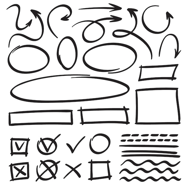 Dibuja flechas y marcos Vector Premium