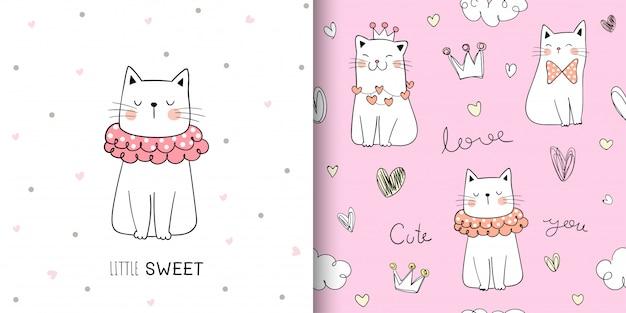 Dibuja el gato lindo de patrones sin fisuras en pastel dulce. Vector Premium