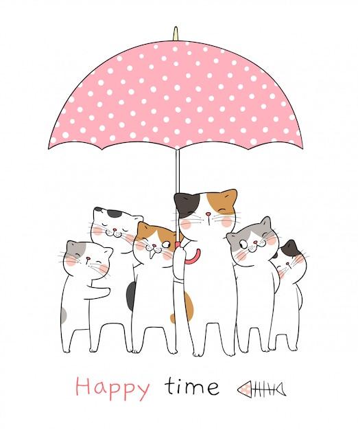 Dibuja gato con paraguas dulce tan feliz Vector Premium