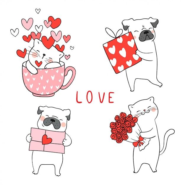 Dibuja el gato y el perro pug con poco corazón para san valentín. Vector Premium