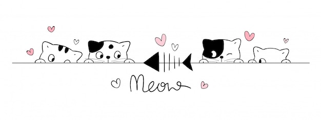 Dibuja gatos lindos mira peces en blanco. Vector Premium