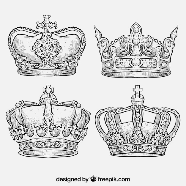 Dibujadas A Mano Coronas Reales Descargar Vectores Gratis