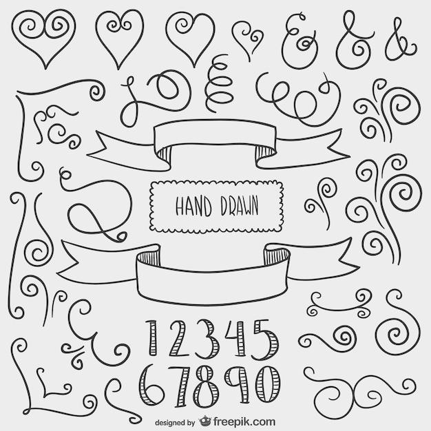Dibujado a mano adornos decorativos descargar vectores for Adornos decorativos
