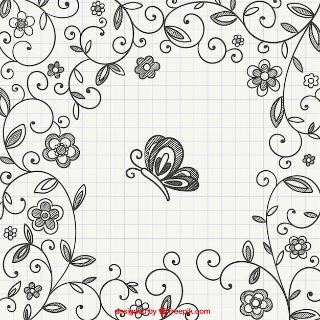 Dibujado a mano adornos florales con mariposa descargar - Adornos para fotos gratis ...