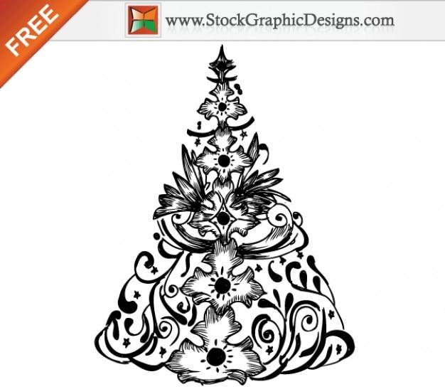 Dibujado a mano rbol de navidad ilustracin vectorial gratis