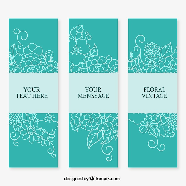 Dibujado a mano banners florales en color turquesa - Como se hace el color turquesa ...