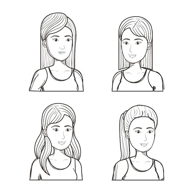 Dibujado a mano chicas sin color con diferentes peinados sobre fondo ...