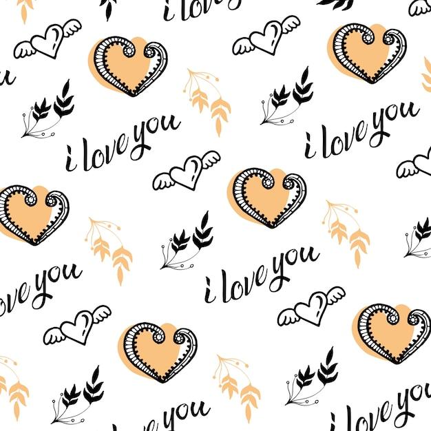 Dibujado a mano corazones de san valentín y fondo de hojas ...