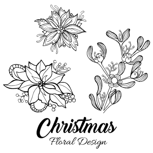 Christmas Flower Line Drawing : Dibujado a mano diseños florales de navidad descargar