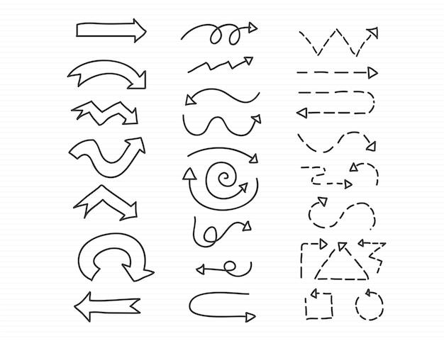 Dibujado A Mano Doodle Conjunto De Flechas
