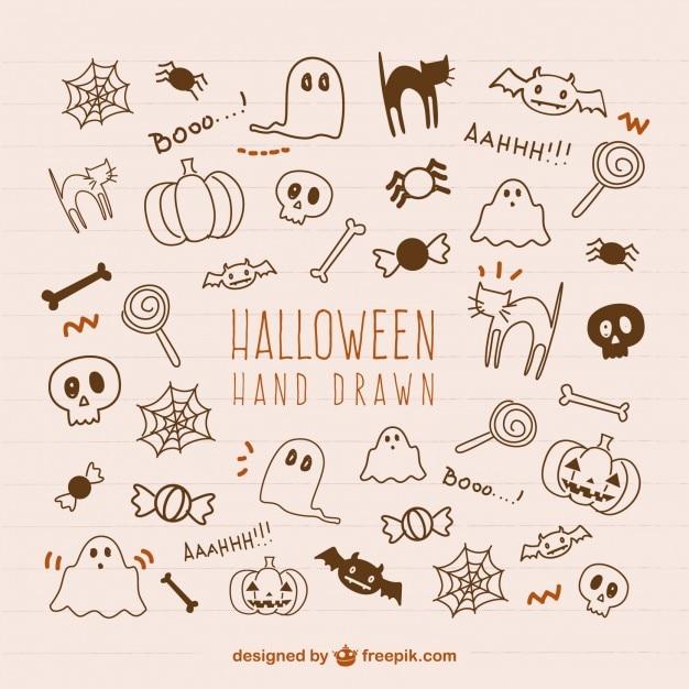Dibujado a mano elementos de Halloween Vector Premium