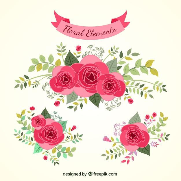 Dibujado a mano elementos florales descargar vectores gratis for Garden party flower designs to color