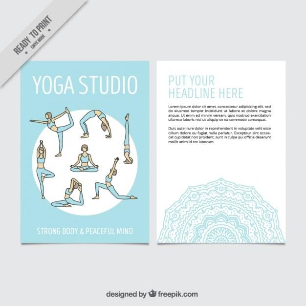 Dibujado a mano posturas de yoga plantilla de volante | Descargar ...