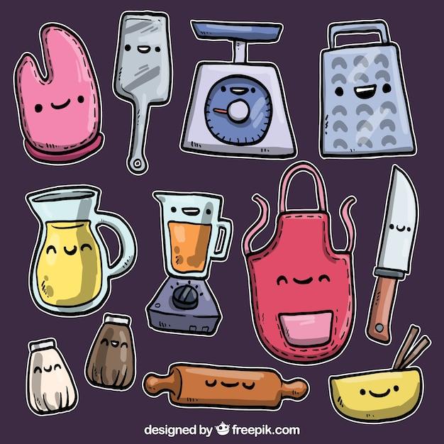 Dibujado a mano utensilios de cocina en estilo de dibujos for Dibujos de cocina