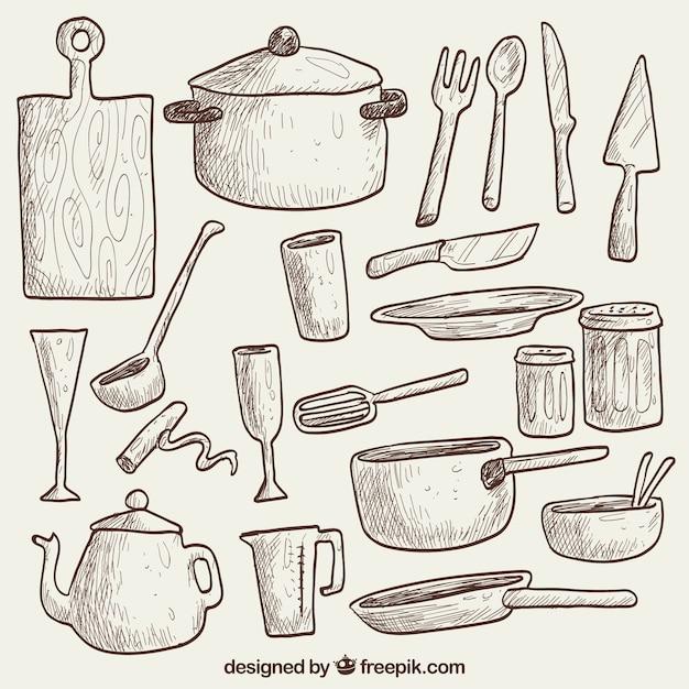 Dibujado a mano utensilios de cocina descargar vectores for Objetos para cocinar