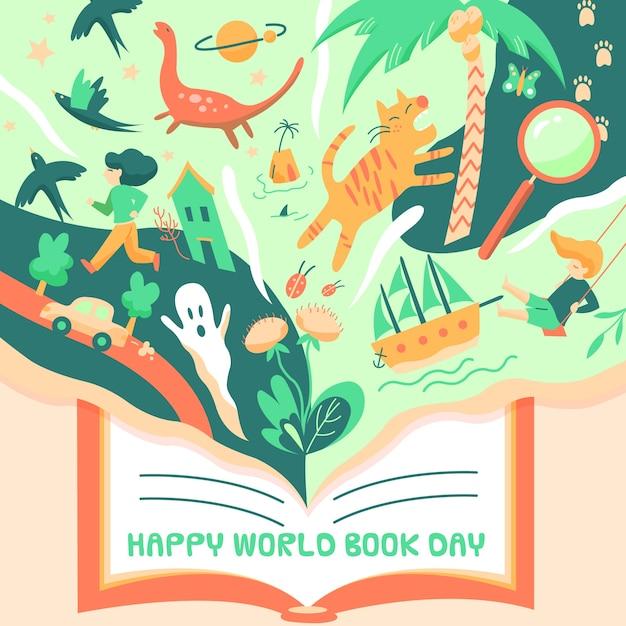Dibujado día mundial del libro con ilustraciones mágicas vector gratuito