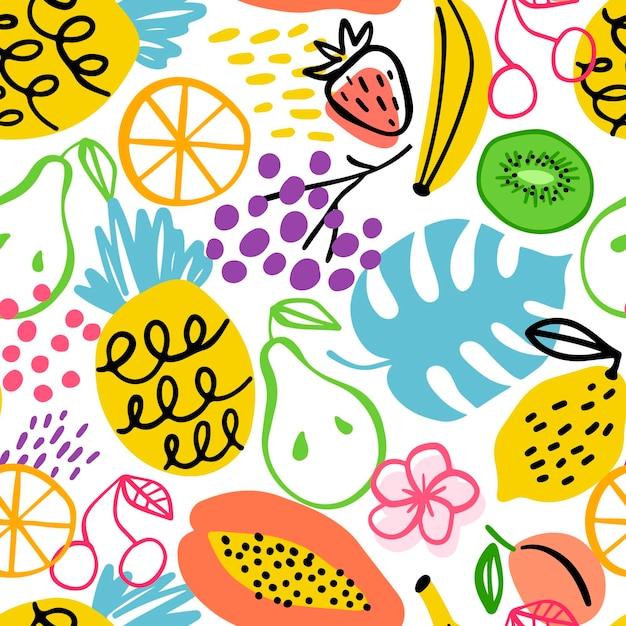 Dibujado diferentes patrones de frutas vector gratuito