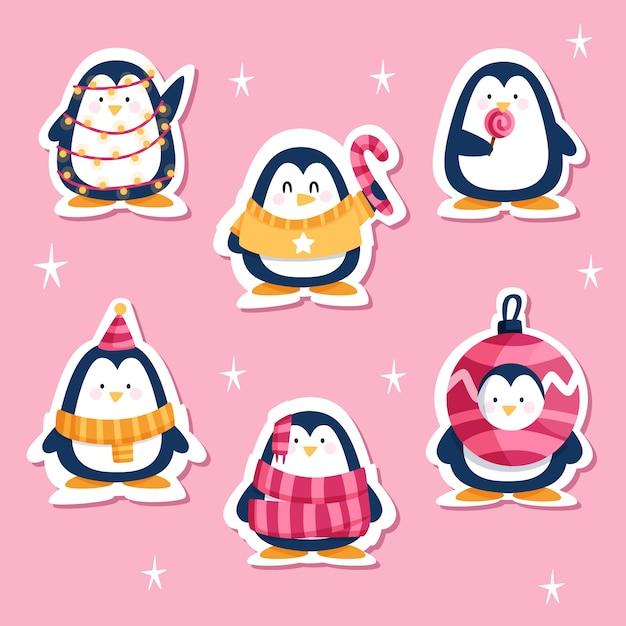 Dibujado divertido pegatina con pingüinos vector gratuito