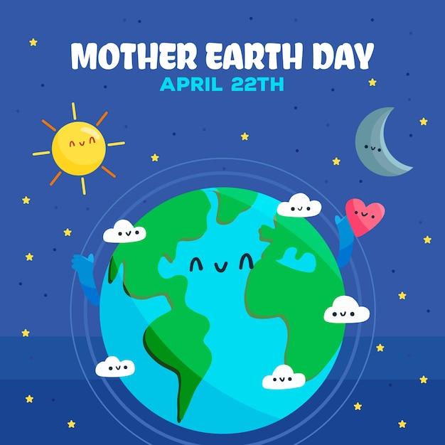 Dibujado ilustración del día de la madre tierra vector gratuito