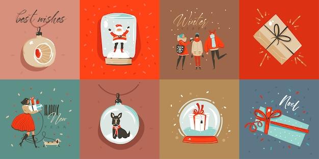 Dibujado a mano abstracto divertido feliz navidad colección de tarjetas de dibujos animados con lindas ilustraciones, cajas de regalo sorpresa, perros y texto de caligrafía moderna manuscrita sobre fondo de color Vector Premium
