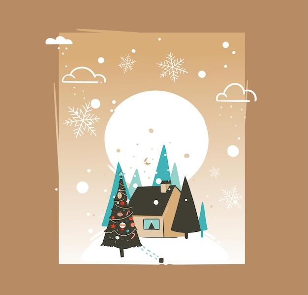Dibujado a mano abstracto feliz navidad y feliz año nuevo tiempo ilustraciones de dibujos animados plantilla de tarjeta de felicitación con paisaje al aire libre, casa y nieve aislada sobre fondo marrón Vector Premium