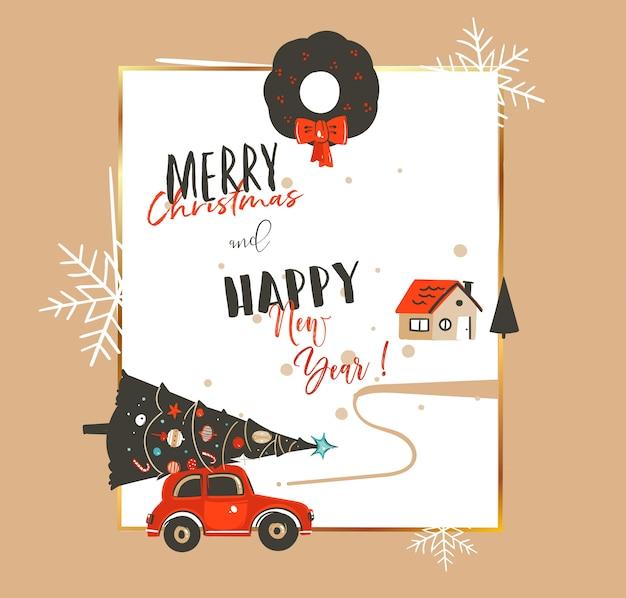 Dibujado a mano abstracto feliz navidad y feliz año nuevo tiempo vintage ilustraciones de dibujos animados plantilla de tarjeta de felicitación con coche, árbol de navidad, casa y tipografía moderna aislada sobre fondo blanco. Vector Premium