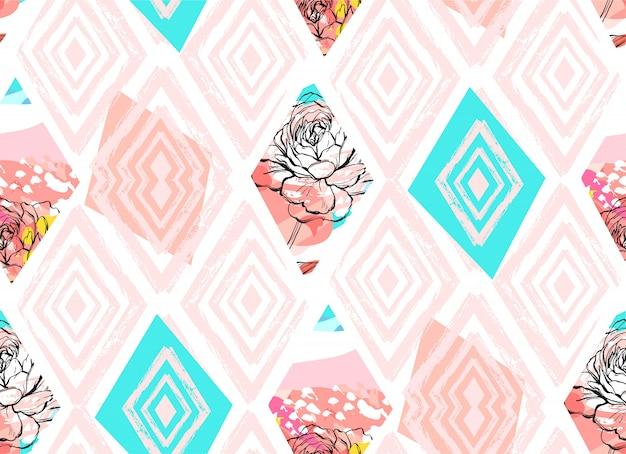 Dibujado a mano abstracto a mano alzada con textura collage de patrones sin fisuras con motivo de flores de primavera en color pastel sobre fondo de color.boda, guardar la fecha, cumpleaños, tela de moda, decoración. Vector Premium