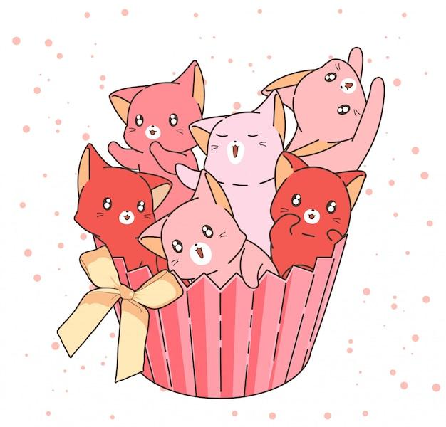 Dibujado a mano adorables personajes de gato en la torta de la taza con un arco Vector Premium