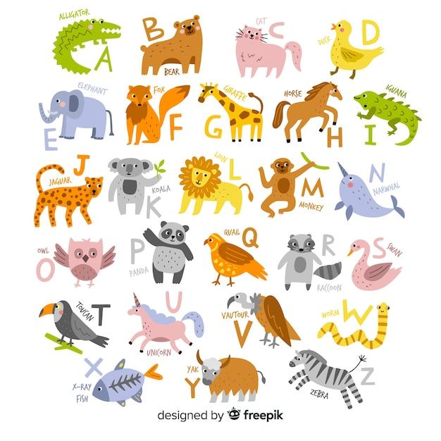 Dibujado a mano del alfabeto animal vector gratuito