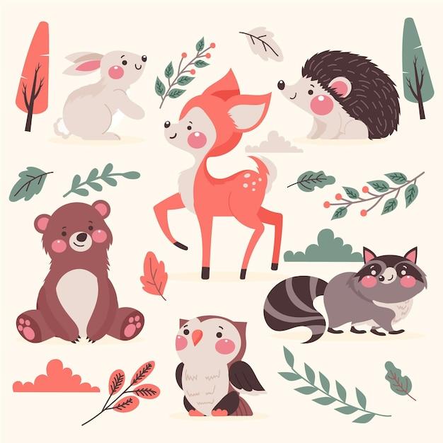 Dibujado a mano animales del bosque otoñal vector gratuito