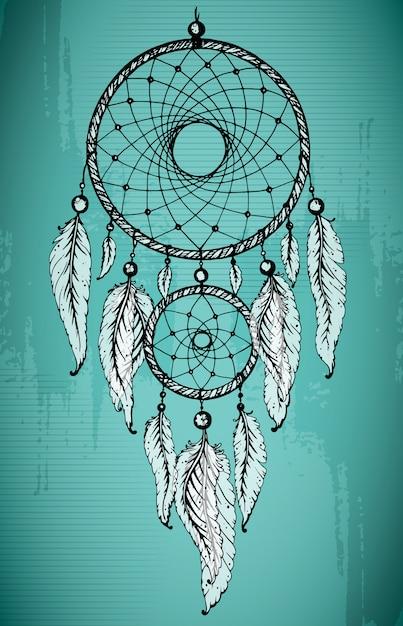 Dibujado a mano atrapasueños con plumas ornamentales sobre fondo verde grunge. Vector Premium