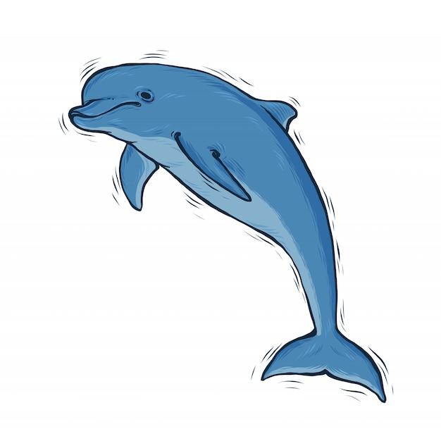 Dibujado a mano azul delfín con arte de línea negra Vector Premium