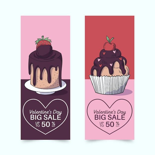 Dibujado a mano banner y cupcakes de san valentín vector gratuito
