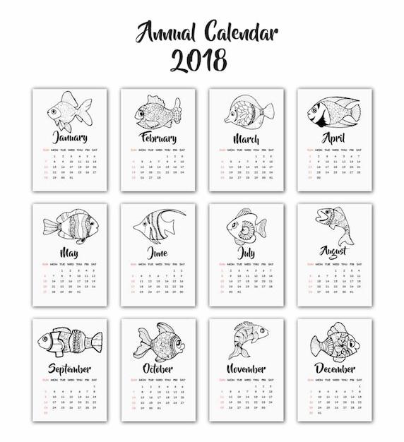 Dibujado A Mano En Blanco Y Negro Calendario De Peces 2018